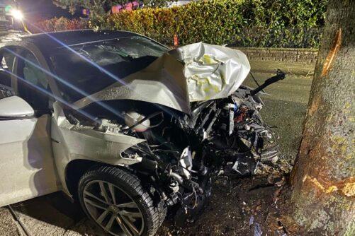 PKW-Brand nach Verkehrsunfall, F1